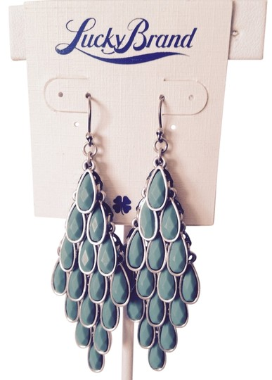 Lucky Brand Turquoise Teardrop Articulated Dangle Earrings
