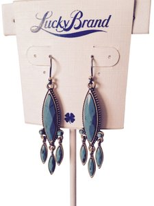Lucky Brand Faceted Turquoise Marquette Gold-Tone Dangle Earrings