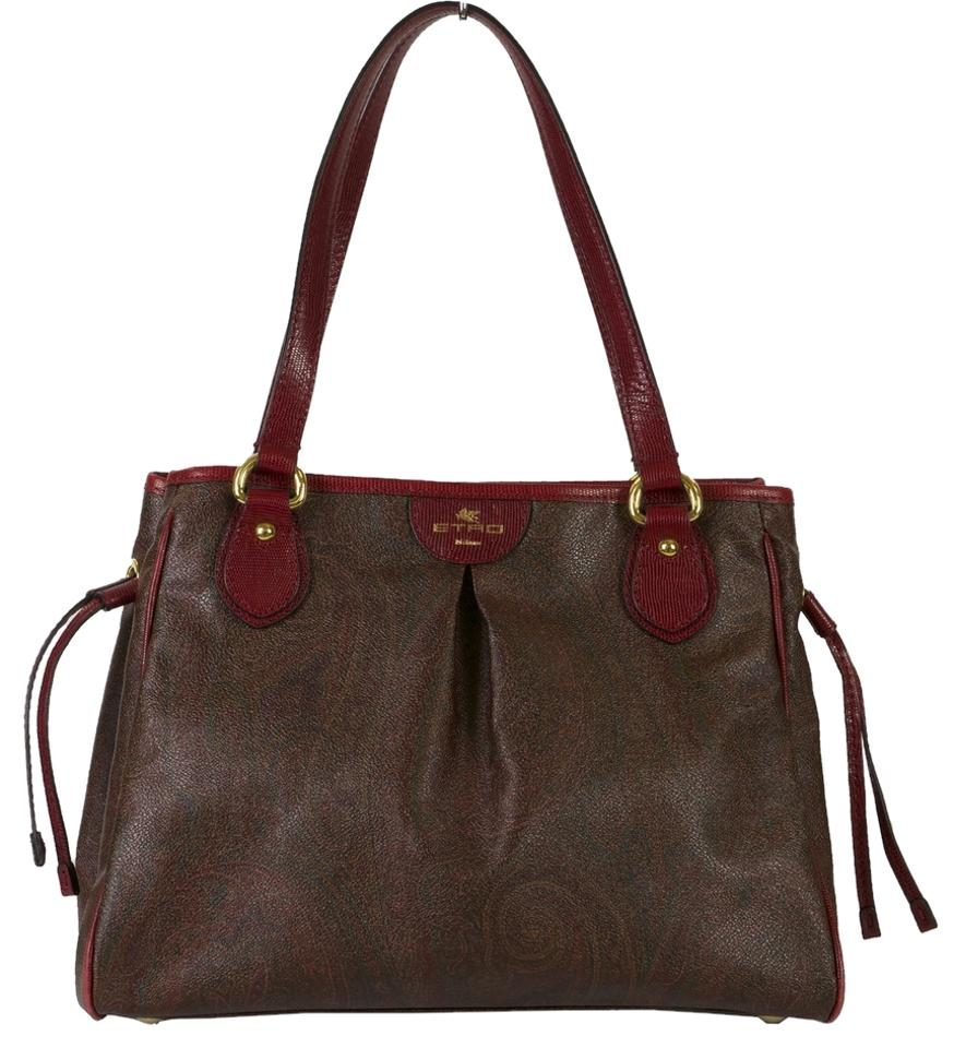 8fb9ea6a6110 Etro Printed Tote Brown Red Coated Cotton Leather Shoulder Bag - Tradesy