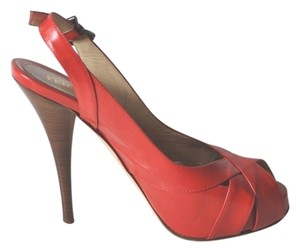Fendi Patent Leather Slingback Red Sandals