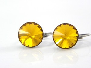 Yellow Sunflower Earrings Swarovski Crystal Rivoli Peach Earrings Bridesmaid Gift Earrings Lever Back Dangle Earring