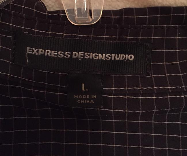 Express Top Black With White Square Print