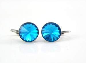 Aquamarine Blue Earrings Swarovski Crystal Rivoli Earrings Bridesmaid Gift Earrings Lever Back Dangle Earrings Bridal