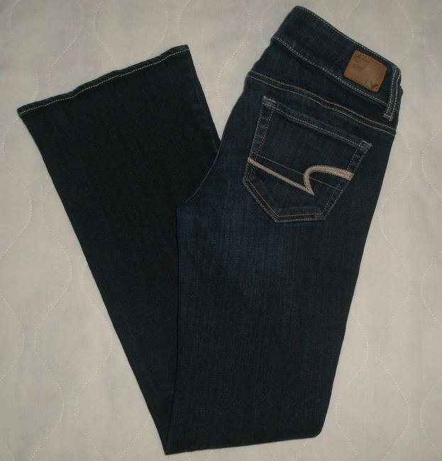 American Eagle Outfitters 5 Pocket Style * Zip Fly * Low Rise * Double Button Waist Closure * Whiskering Detail * Cotton/Spandex * Machine Boot Cut Jeans-Dark Rinse