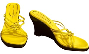 Athena Alexander Slide Yellow Wedges