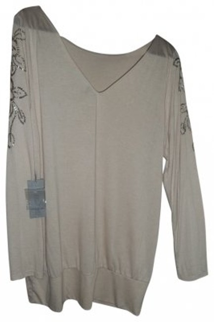 Preload https://img-static.tradesy.com/item/32451/jennifer-lopez-light-creamy-beige-embellished-silver-beads-on-sleeves-tunic-size-16-xl-plus-0x-0-0-650-650.jpg