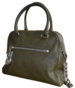 Michael Kors Leather Silver Hardware Chic Satchel in Olive