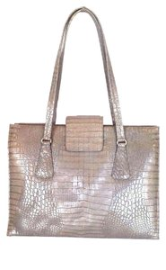 Escada Faux Crocodile Leather Metallic Handbag Shoulder Bag