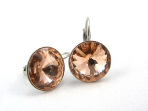Champagne Swarovski Crystal Rivoli Peach Bridesmaid Gift Lever Back Dangle Earrings