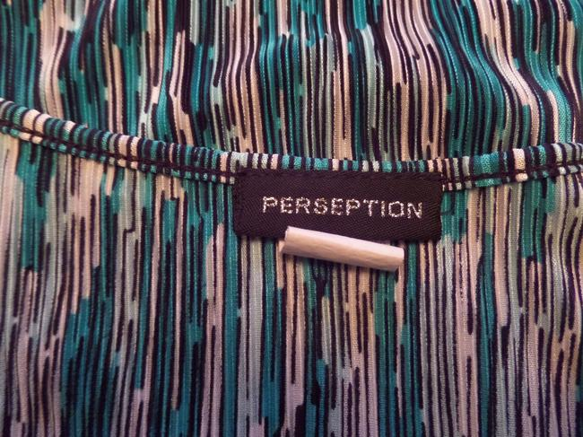 Perseption Top Black Turquoise and White Geometric Print