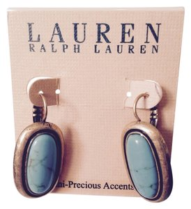 Lauren Ralph Lauren Lauren Turquoise In Hammered Gold-Tone Earrings Only! Matching Pieces Sold Seperately.