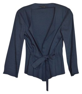 Theory Cropped Sleeve Self Belting navy blue Jacket