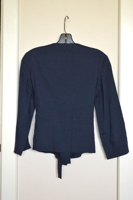 Theory Cropped Sleeve Self Belting Linen navy blue Jacket