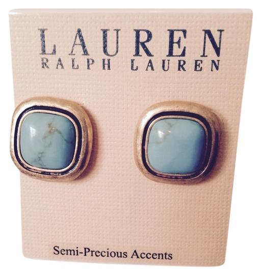 Lauren Ralph Lauren Lauren Turquoise In Brushed Gold-Tone Stud Earrings Only! Additional Matching Sold Seperately.