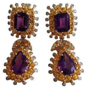 18K Amethyst, Citrine & Diamond Earrings.