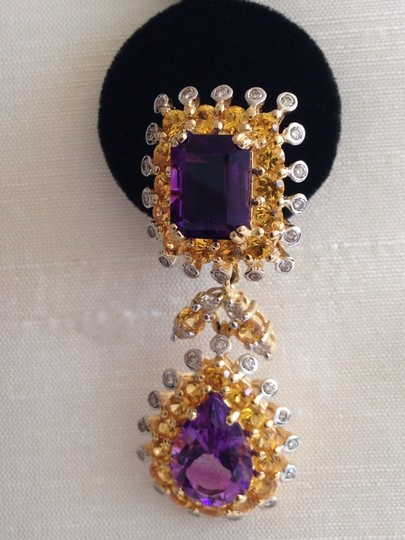 Other 18K Amethyst, Citrine & Diamond Earrings.