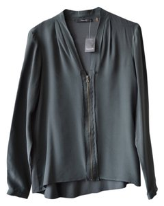 Tahari Silk Zippered Front Top gray haze
