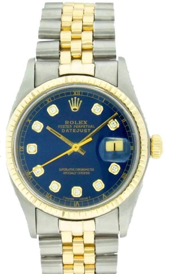Rolex Blue Dial Yellow Gold and Stainless Steel Mens Datejust Oyster  Perpetual 18k Yg/Ss Diamond Watch 34% off retail