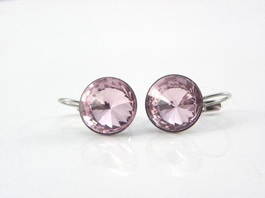 Pink Light Swarovski Crystal Rivoli Bridesmaid Gift Lever Back Dangle Earrings