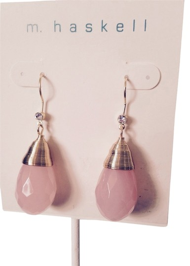 M. Haskell Faceted Pink Briolettes In Gold-Tone Wire Dangle Earrings