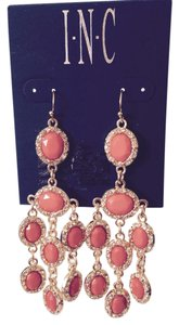 INC International Concepts Faceted Orange & Crystal Chandelier Statement Earrings
