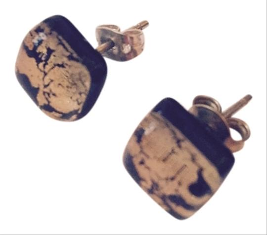 Murano AUTHENTIC MURANO GLASS STUDS IN BLACK AND GOLD
