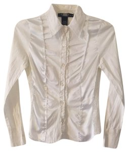 Rampage Lace Trim Fun Style Button Down Shirt White