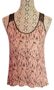 Forever 21 Mesh Gold Metallic Comfortable Loose Fitting Top Pink
