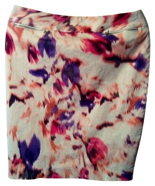 Calvin Klein Pencil Spring Skirt White/pink/purple
