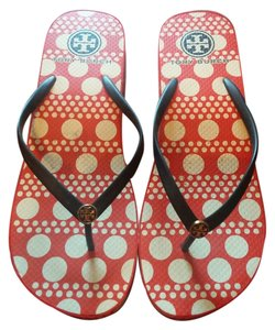 Tory Burch Multi: red base w/cream dots & navy thongs Sandals