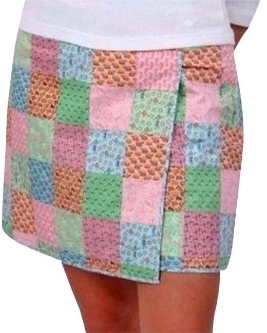 Vineyard Vines Hula Footprints Sailboats Starfish Wrap Mini Skirt Pink, Blue, Green