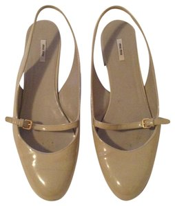 Miu Miu Patent Leather Mary Jane Strappy Slingback Tan Prada Tan, Beige, Nude Flats
