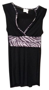 Sweet Pea by Stacy Frati Mesh Sleeveless Top Black and zebra