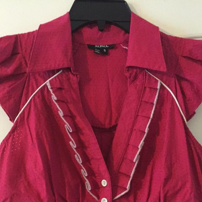 XOXO Cotton Slim Fit Button Down Shirt hot pink