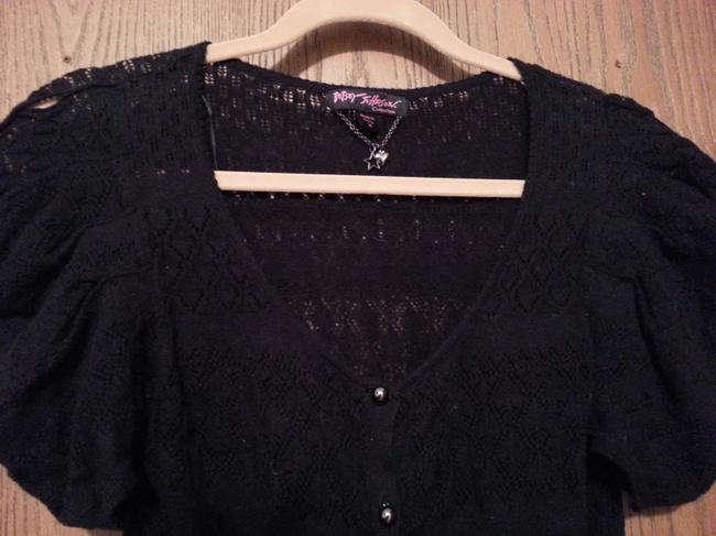 Betsey Johnson Vintage Cardigan Cut Out Silver Har Puff Designer Sweater