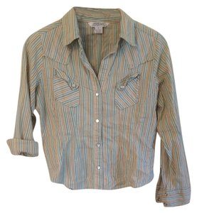 Striped Flash Sale Button Down Shirt Green Tan