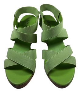 Max Rave Elastic Cork Wedge Platform Stretchy Green Sandals