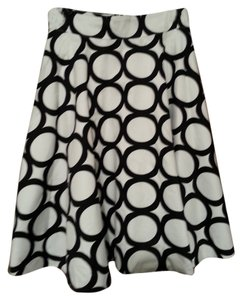 Amanda + Chelsea Circle Rings Exposed Zipper A-line Skirt Black and white
