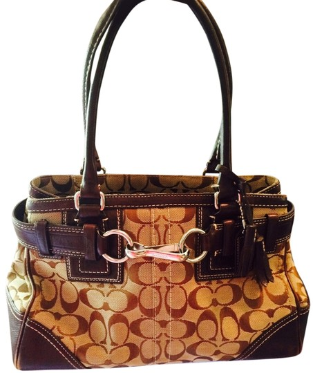 Coach Monogram Leather Tassel Discontinued Style Jacquard Satchel in Brown