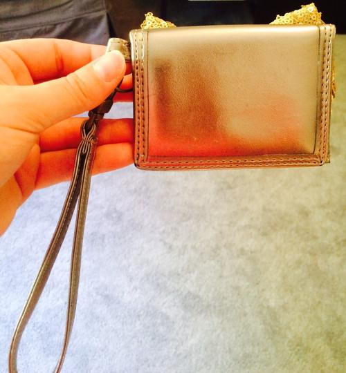 Aerie Bow Wallet Sequin Wristlet in Gold