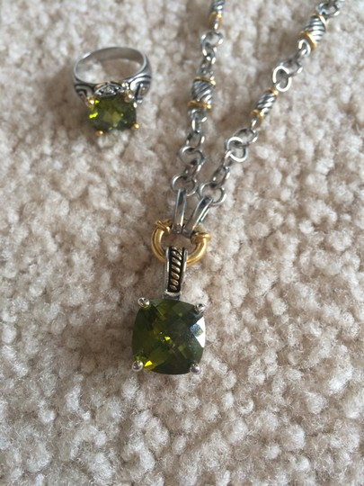 Premiere Jewels Faux peridot necklace and ring set