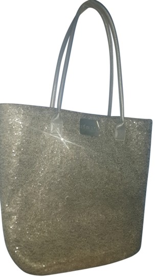 Chico's Sequins Tote in Gray with Red interior