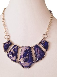 Barse Purple Turquoise In Gold-Tone Necklace