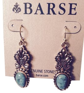 Barse Turquoise Teardrop In Gold-Tone Dangle Earrings