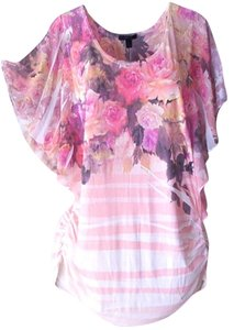 Express Floral Striped Chiffon Top Pink
