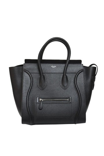 Céline Pebbled Leather Tote in Black