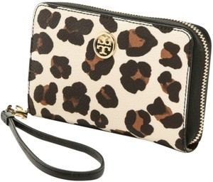 Tory Burch TORY BURCH OCELOT LEOPARD LEATHER SMARTPHONE IPHONE CASE WRISTLET CLUTCH WALLET