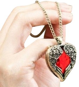BRONZE RED RHINESTONE HEART ANGEL WING PENDANT NECKLACE