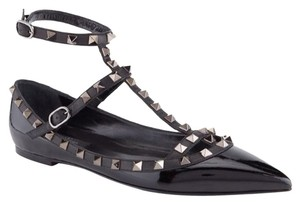 Valentino Studded Patent Leather Rockstud Rockstud Noir $75 OFF WITH DOUBLE75!! Black 35(EU) NWT Flats