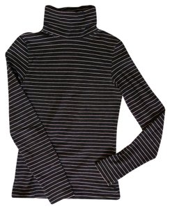 French Connection Turtleneck Striped T Shirt Black